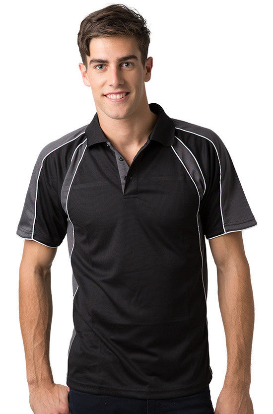 Be Seen-Be Seen Men's Polo Shirt With Contrast Sleeve 1st( 8 Color )-Black-Charcoal-White / XS-Uniform Wholesalers - 1