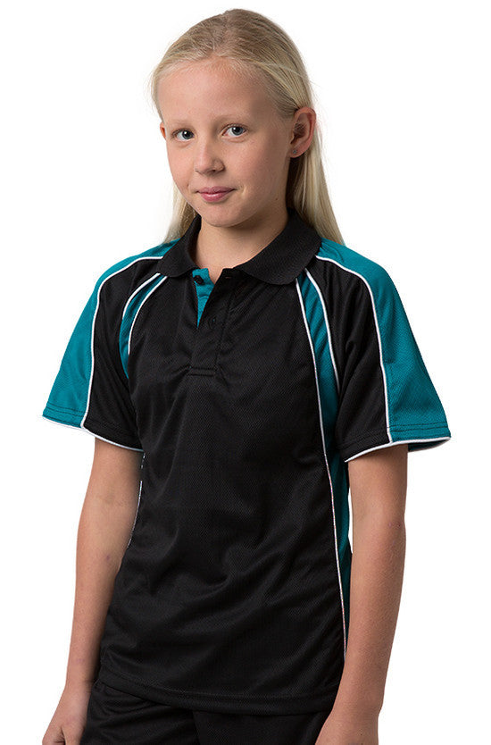 Be Seen-Be Seen Kids Polo Shirt With Contrast Sleeve Edge Piping-Black-Deep Teal-White / 6-Uniform Wholesalers - 2