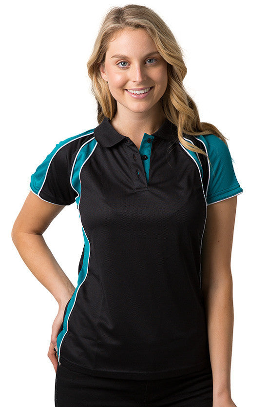 Be Seen-Be Seen Ladies Polo Shirt With Contrast Sleeve Edge Piping 1st( 8 Color )-Black-Deep Teal-White / 8-Uniform Wholesalers - 2