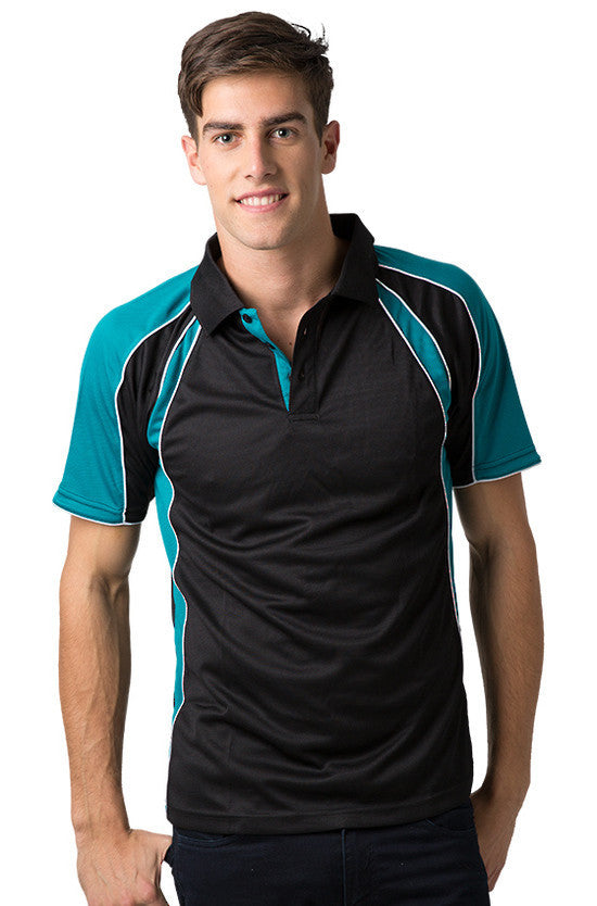 Be Seen-Be Seen Men's Polo Shirt With Contrast Sleeve 1st( 8 Color )-Black-Deep Teal-White / XS-Uniform Wholesalers - 2
