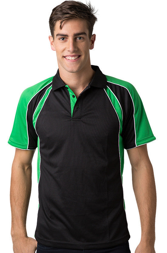 Be Seen-Be Seen Men's Polo Shirt With Contrast Sleeve 1st( 8 Color )-Black-Emerald-White / XS-Uniform Wholesalers - 3