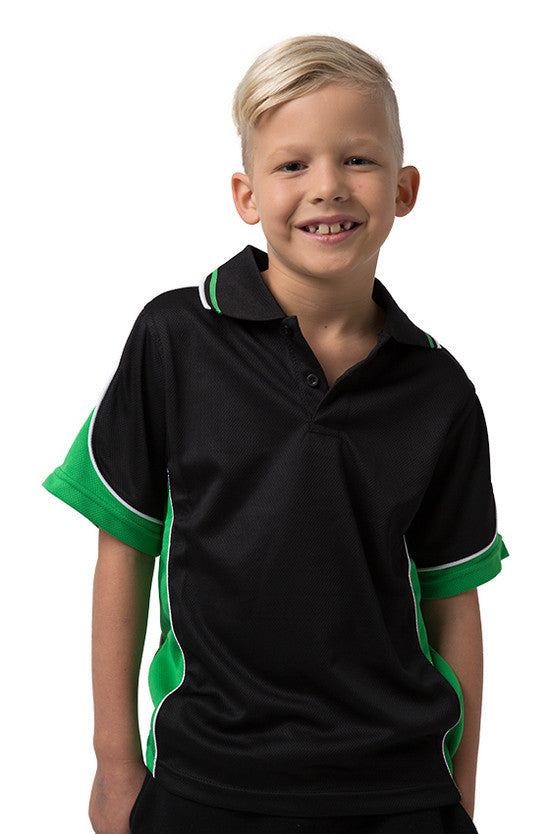 Be Seen-Be Seen Kids Polo Shirt With Striped Collar 1st( 10 Black Color )-Black-Emerald-White / 6-Uniform Wholesalers - 1