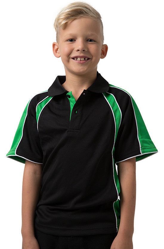 Be Seen-Be Seen Kids Polo Shirt With Contrast Sleeve Edge Piping-Black-Emerald-White / 6-Uniform Wholesalers - 3