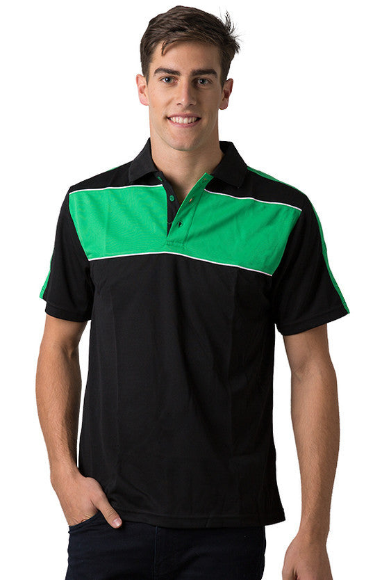 Be Seen-Be Seen Men's Polo With Contrast Shoulder-Black-Emerald-White / XS-Uniform Wholesalers - 1