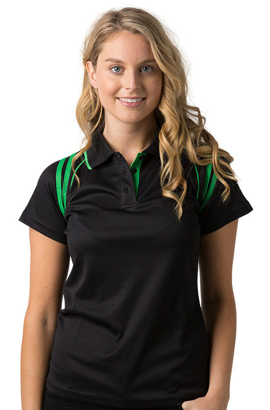 Be Seen-Be Seen Ladies Sleeve Polo Shirt With Striped Collar 1st( 10 Color )-Black-Emerald / 8-Uniform Wholesalers - 1