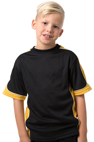 Be Seen-Be Seen Kids Knit Rugby Jersey-Black-Gold-White / 6-Uniform Wholesalers - 1