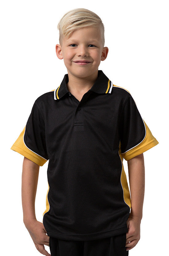 Be Seen-Be Seen Kids Polo Shirt With Striped Collar 1st( 10 Black Color )-Black-Gold-White / 6-Uniform Wholesalers - 2
