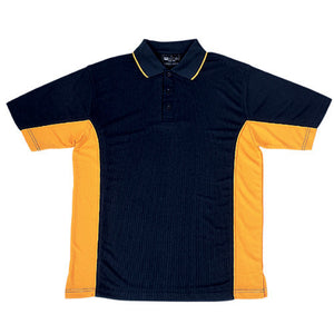 Bocini-Bocini Men's Breezeway Panel Polo(1st 10 colors)-Black/Gold / S-Uniform Wholesalers - 3