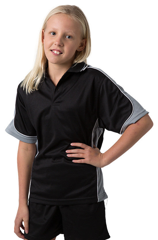 Be Seen-Be Seen Kids Polo Shirt With Striped Collar 1st( 10 Black Color )-Black-Grey-White / 6-Uniform Wholesalers - 3