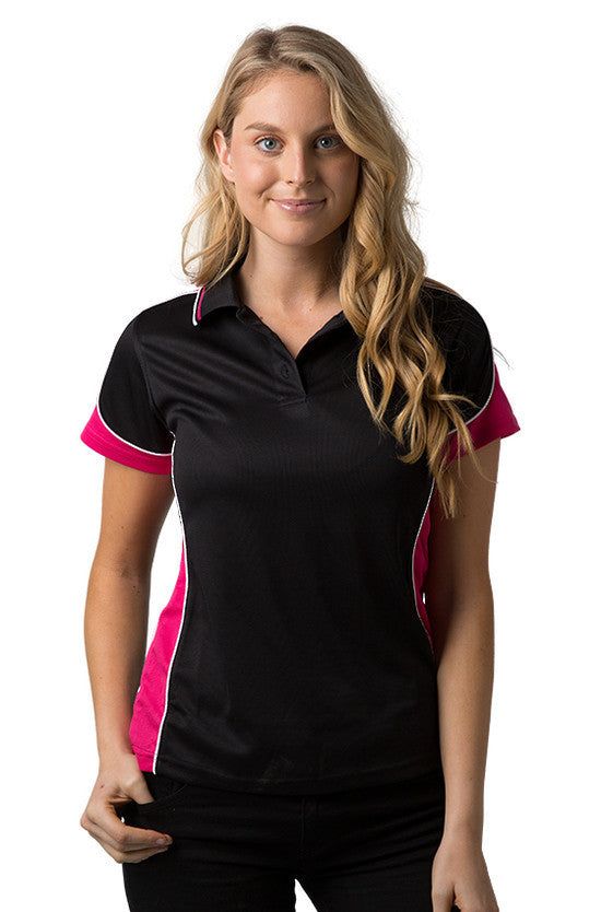 Be Seen-Be Seen Ladies Polo Shirt With Striped Collar 1st( 12 Color )-Black-Hot Pink-White / 8-Uniform Wholesalers - 2