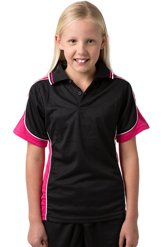 Be Seen-Be Seen Kids Polo Shirt With Striped Collar 1st( 10 Black Color )-Black-Hotpink-White / 6-Uniform Wholesalers - 4