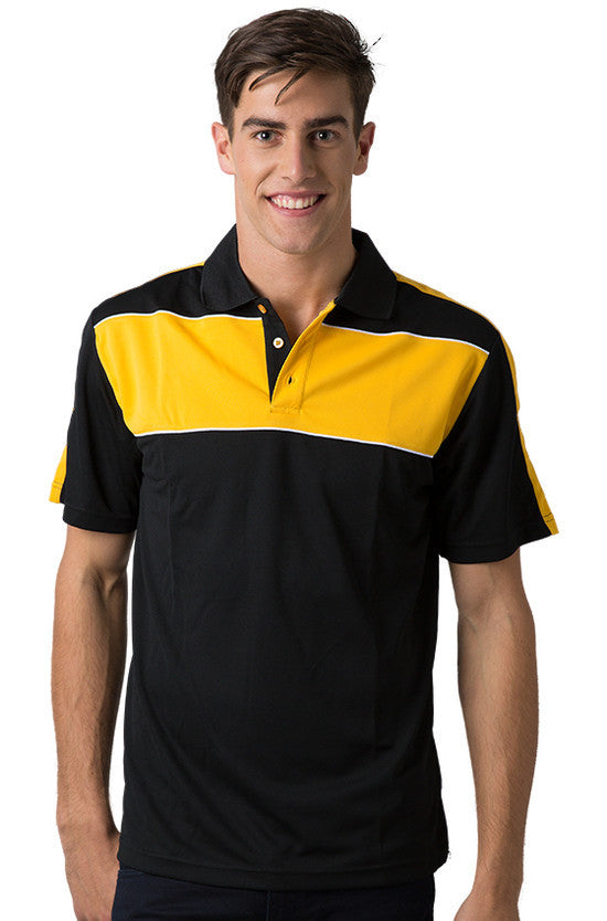 Be Seen-Be Seen Men's Polo With Contrast Shoulder-Black-Light Gold-White / XS-Uniform Wholesalers - 2
