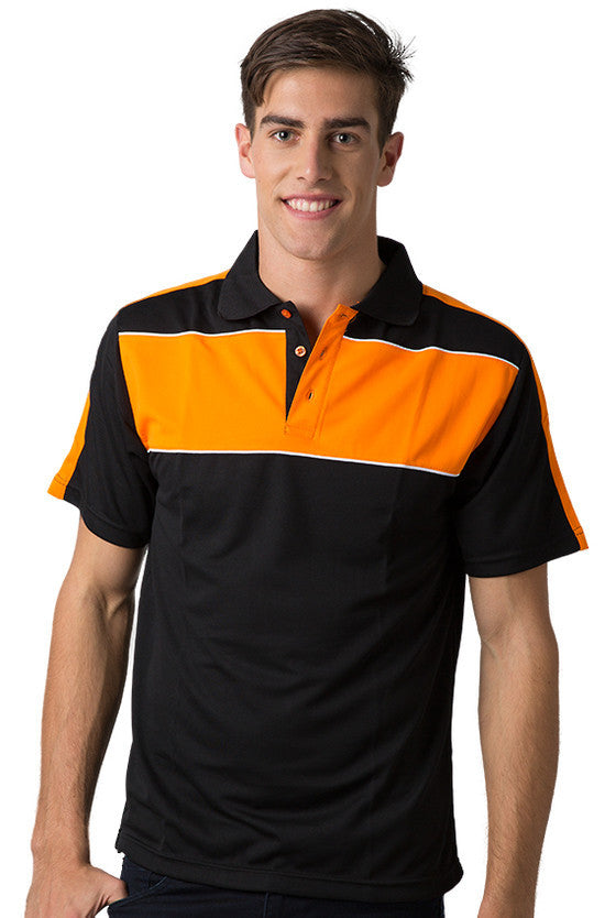 Be Seen-Be Seen Men's Polo With Contrast Shoulder-Black-Orange-White / XS-Uniform Wholesalers - 3