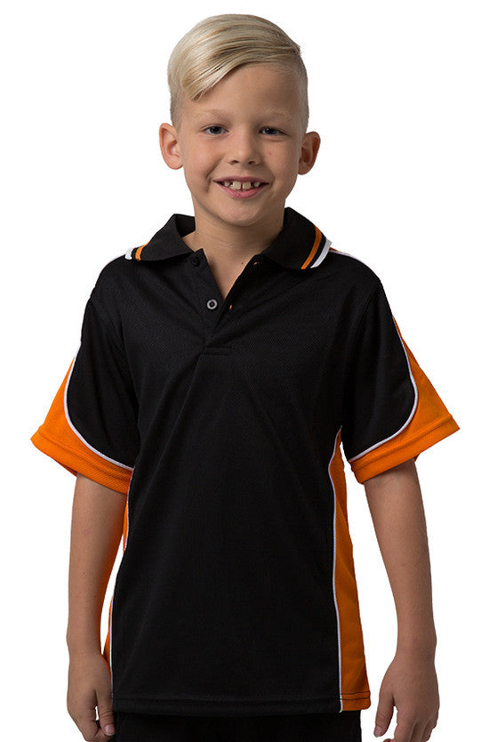 Be Seen-Be Seen Kids Polo Shirt With Striped Collar 1st( 10 Black Color )-Black-Orange-White / 6-Uniform Wholesalers - 6