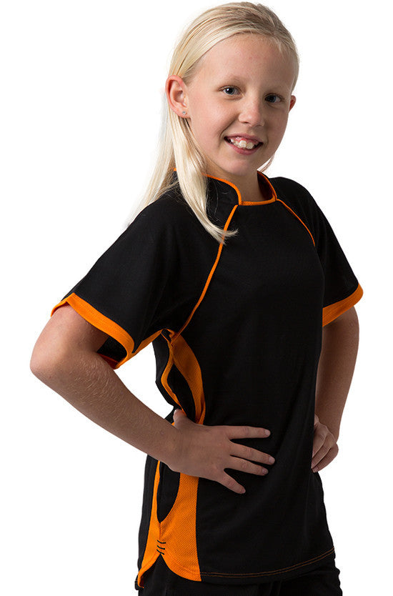 Be Seen-Be Seen Kids T-shirt With Pique Knit-Black-Orange / 6-Uniform Wholesalers - 1