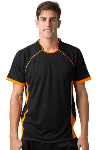 Be Seen-Be Seen Men's Polo Shirt With Pique Knit Body And Contrast 1st( 7 Color )-Black-Orange / XS-Uniform Wholesalers - 1