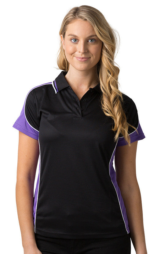 Be Seen-Be Seen Ladies Polo Shirt With Striped Collar 1st( 12 Color )-Black-Purple-White / 8-Uniform Wholesalers - 3