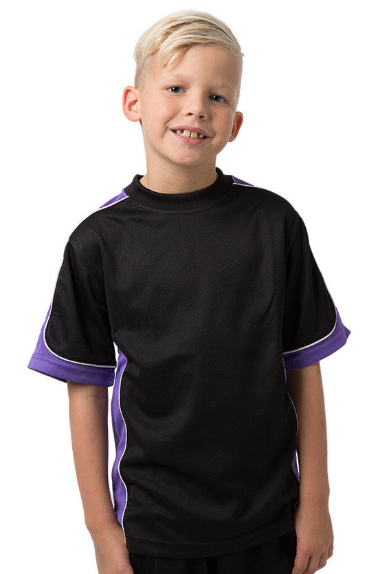 Be Seen-Be Seen Kids Short Sleeve T-shirt-Black-Purple-White / 6-Uniform Wholesalers - 1