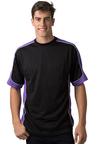 Be Seen-Be Seen Men's Short Sleeve T-shirt With Contrast 1st( 8 Color )-Black-Purple-White / XS-Uniform Wholesalers - 1
