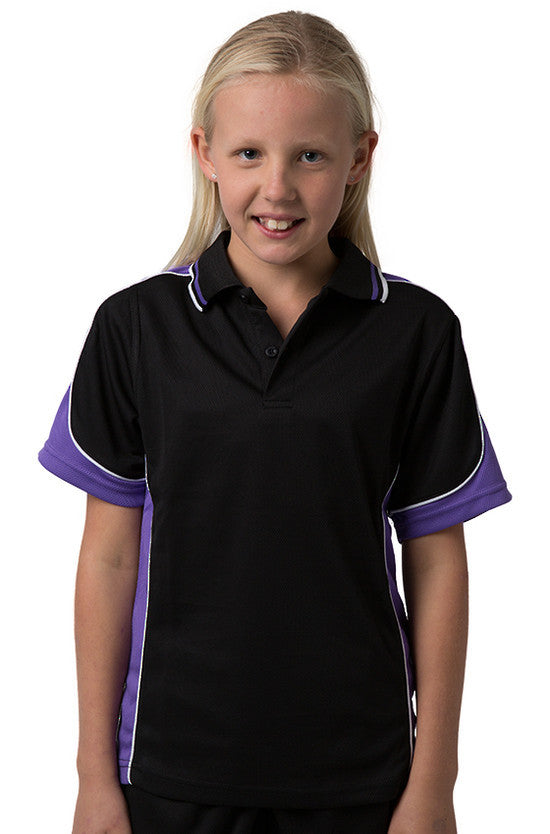 Be Seen-Be Seen Kids Polo Shirt With Striped Collar 1st( 10 Black Color )-Black-Purple-White / 6-Uniform Wholesalers - 7