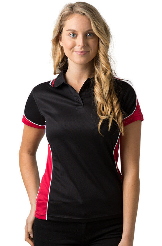 Be Seen-Be Seen Ladies Polo Shirt With Striped Collar 1st( 12 Color )-Black-Red-White / 8-Uniform Wholesalers - 4