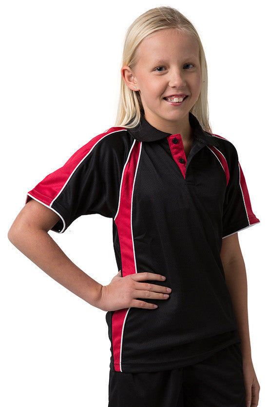 Be Seen-Be Seen Kids Polo Shirt With Contrast Sleeve Edge Piping-Black-Red-White / 6-Uniform Wholesalers - 4