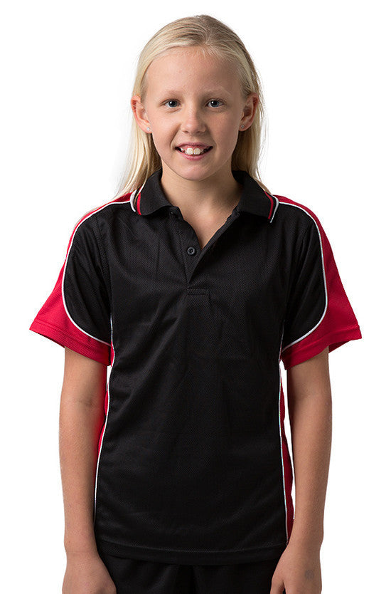 Be Seen-Be Seen Kids Polo Shirt With Striped Collar 1st( 10 Black Color )-Black-Red-White / 6-Uniform Wholesalers - 8