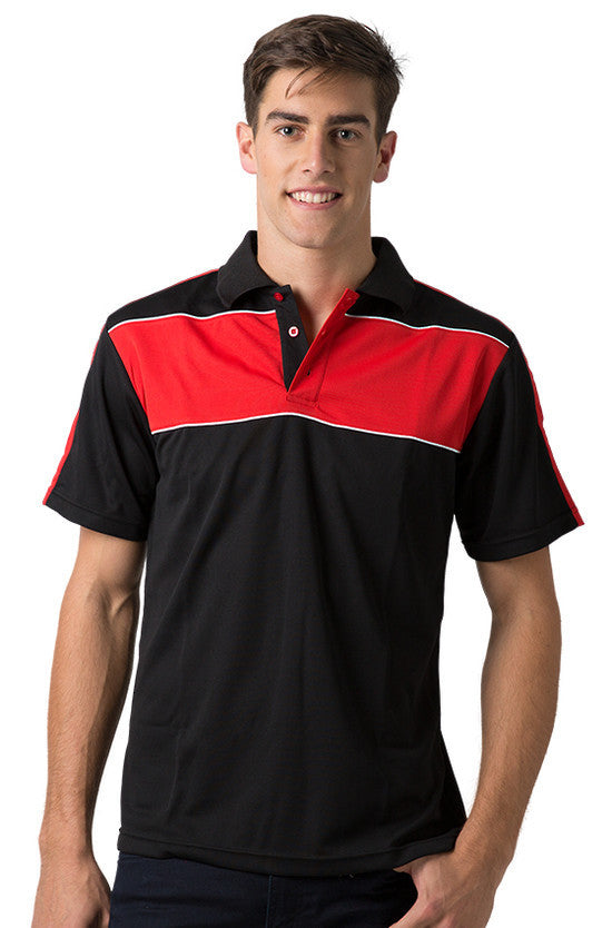 Be Seen-Be Seen Men's Polo With Contrast Shoulder-Black-Red-White / XS-Uniform Wholesalers - 4