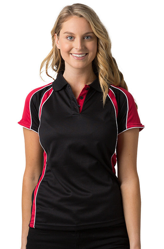 Be Seen-Be Seen Ladies Polo Shirt With Contrast Sleeve Edge Piping 1st( 8 Color )-Black-Red-White / 8-Uniform Wholesalers - 4
