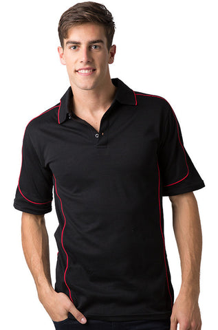 Be Seen-Be Seen Men's Polo Shirt With Contrast Piping-Black-Red / XS-Uniform Wholesalers - 1