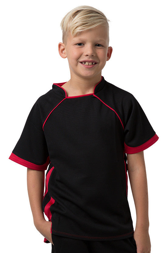 Be Seen-Be Seen Kids T-shirt With Pique Knit-Black-Red / 6-Uniform Wholesalers - 2