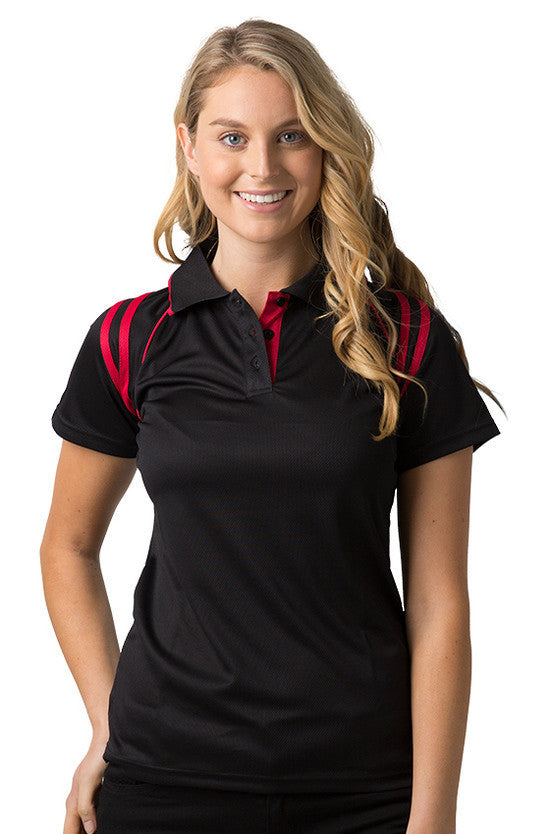 Be Seen-Be Seen Ladies Sleeve Polo Shirt With Striped Collar 1st( 10 Color )-Black-Red / 8-Uniform Wholesalers - 3