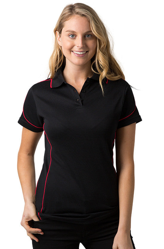 Be Seen-Be Seen Ladies Polo Shirt With Contrast Piping-Black-Red / 8-Uniform Wholesalers - 1