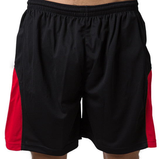 Be Seen-Be Seen Men's Elastic Waist Shorts-Black-Red / XS-Uniform Wholesalers - 2