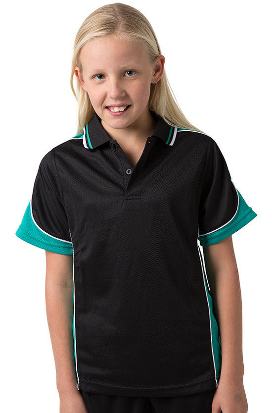 Be Seen-Be Seen Kids Polo Shirt With Striped Collar 1st( 10 Black Color )-Black-Teal-White / 6-Uniform Wholesalers - 9