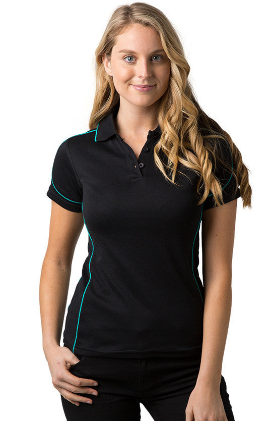 Be Seen-Be Seen Ladies Polo Shirt With Contrast Piping-Black-Teal / 8-Uniform Wholesalers - 2