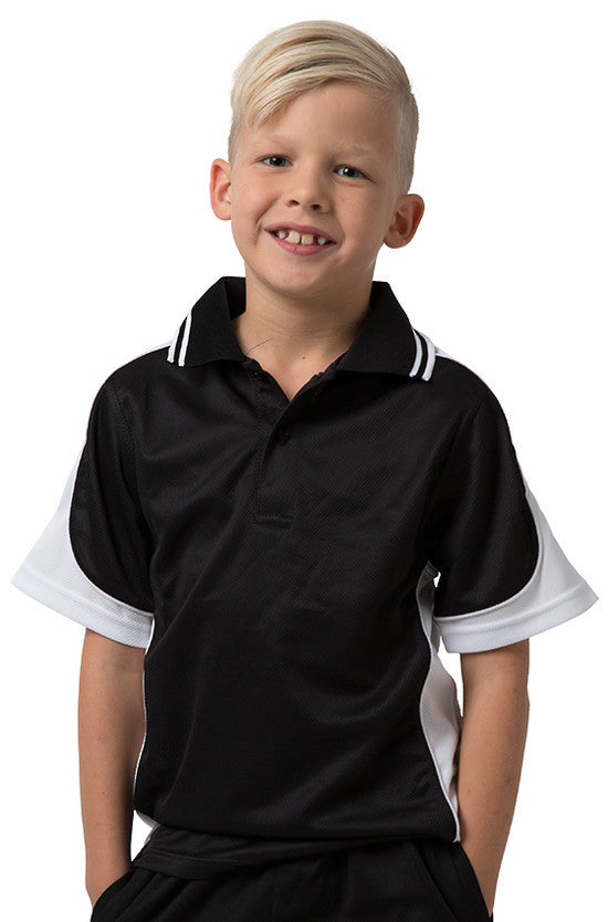 Be Seen-Be Seen Kids Polo Shirt With Striped Collar 1st( 10 Black Color )-Black-White-White / 6-Uniform Wholesalers - 10
