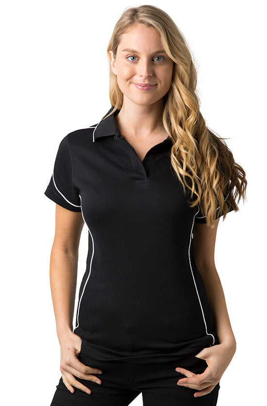 Be Seen-Be Seen Ladies Polo Shirt With Contrast Piping-Black-White / 8-Uniform Wholesalers - 3