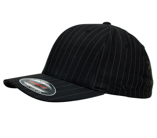 FLEXFIT-FLEXFIT Pinstripe Caps-Black/White / S-M-Uniform Wholesalers - 1