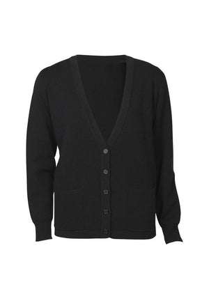 Biz Collection-Biz Collection Ladies Button Through Woolmix Cardigan-Black / S-Uniform Wholesalers - 2