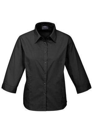 Biz Collection-Biz Collection Ladies Base 3/4 Sleeve Shirt-Black / 6-Uniform Wholesalers - 2