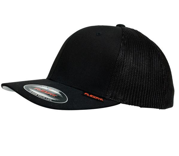 FLEXFIT-FLEXFIT Mesh Truck Cap-Black / S-M-Uniform Wholesalers - 1