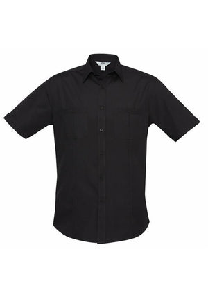 Biz Collection-Biz Collection Mens Bondi Short Sleeve Shirt-Black / XS-Corporate Apparel Online - 2
