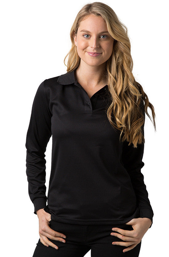 Be Seen-Be Seen Ladies Long Sleeve Plain Polo Shirt With Ribbed Cuffs-Black / 8-Uniform Wholesalers - 1