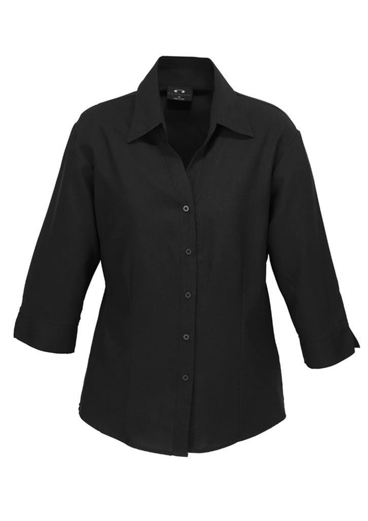 Biz Collection-Biz Collection Ladies Plain Oasis Shirt-3/4 Sleeve-Black / 6-Uniform Wholesalers - 2