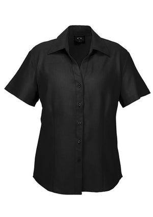 Biz Collection-Biz Collection Ladies Plain Oasis Shirt-S/S-Black / 6-Uniform Wholesalers - 2