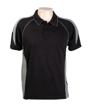 Australian Spirit-Aus Spirt Olympikool Mens Polo 1st ( 10 Colour )-Black / Ashe marle / S-Uniform Wholesalers - 3