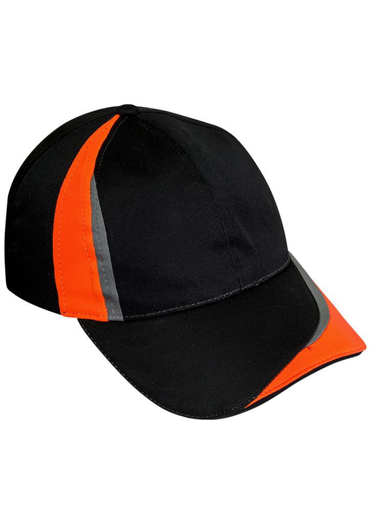 Biz Collection-Biz Collection Unisex Charger Cap-Black/Fluoro Orange/Grey-Uniform Wholesalers - 2