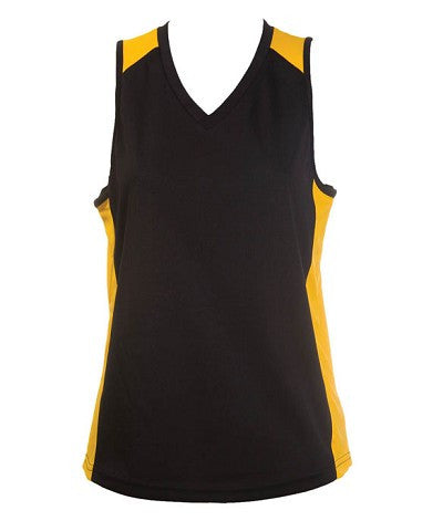Australian Spirit-Aus Spirt Olympikool Ladies Singlet 1st ( 10 Colour )-Black / Gold / 8-Uniform Wholesalers - 5