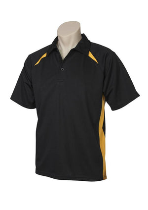 Biz Collection-Biz Collection  Mens Splice Polo 1st ( 10 Colour )-Black / Gold / Small-Uniform Wholesalers - 2